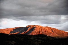 Ayres Rock.... Glenelg (vincocamm) Tags: scotland glenelg bernerabeach sky mountain hills grey red orange sunset beinnachapuil munroe shadows august highlands