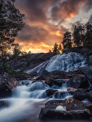 sunset and waterfall (bjorns_photography) Tags: landscape nature sunset waterfall trees clouds water river rocks