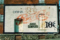 Pepsi Cola (Past Our Means) Tags: kodak portra portra400 sign vintage wall brick analog analogue analouge kodafilm travel building paint film filmisnotdead filmphotography filmsnotdead canon ae1 canonae1 35mm 28mm connecticut ct home grain adventures adventure soad pepsi cola soft drink