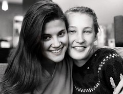 Ellie and Grace at Family Christmas (Scott RS) Tags: portrait cousins beautiful young women blackandwhite love kindness pretty smiles teeth lips nose eyes hair cute sweet beloved tender gorgeous