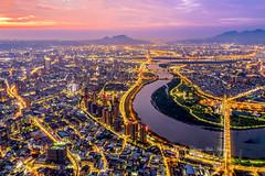 Sunset @ Xindianxi, New Taipei City, Taiwan   新店溪 (Jennifer 真泥佛 * Taiwan) Tags: 新店溪 dji 新北市 空拍 大疆 小樹家 marvic2pro sunset 日落 中和 taiwan 觀音山 drone aerialview 500m