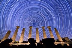 Startrail al Tempio di Eracle (Pool187) Tags: universe astrophotography sicilia startrail astronomy valle dei templi sicily agrigento time