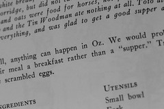 Anything Can Happen in Oz! (Carol (vanhookc)) Tags: wizardofoz scrambledeggs pageofbook recipe thestorybookcookbook dorothy toto thelion scarecrow tinwoodsman wordsonapage hmm macromondays magicalstory printedword childrensliterature read acookbook kidslit books