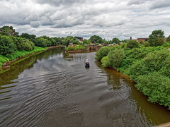 Narrow Boat (Neil Stevens) Tags: omdem1ii landscape canalboat riverscape water narrowboat clouds omdem1markii riversevern lock river england scenic worcester worcestershire waterscape olympusuk boat uk diglis ripples wake