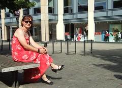 Sitting on a bench (Marie-Christine.TV) Tags: feminine transvestite lady mariechristine summer dress sitting pretty sommerkleid sonnebrille sun glasses pumps smile