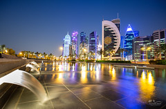 Water Edge (Mohamed Rimzan) Tags: travel doha qatar bluehour canon 1740mm water sky architecture buliding skyline landscape