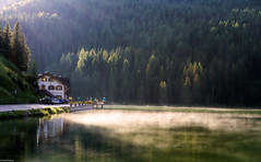 Pizzeria by the lake (Dan_Fr) Tags: lagodimisurina dolomites italy lake pizzeria trees water mist house ripples nature travel sony a7r landscape