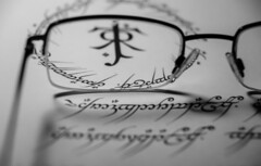 Tengwar (Jose Rahona) Tags: macromondays printedword macro mondays hmm document book glasses blackandwhite bw blancoynegro monochrome