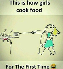 This Is How Girls Cook For The First Time (gagbee18) Tags: aww cook food funny girls kitchen