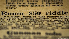 The Riddle of Room 850 (zolaczakl) Tags: macromondays printedword 1962 newspaper photographybyjeremyfennell uk england 2019 august newsprint sigma50mmf14dghsmartlens nikond800