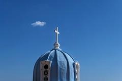 Cross and cloud (Alizarin Krimson) Tags: blue cloud church cross dome heaven greece lesvos plomari sky