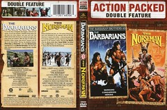 "USA sorta vintage DVD cover for ""The Barbarians"" (1987) and ""The Norseman"" (1978) double feature - ""Muscle Memories"" (moreska) Tags: usa vintage dvd coverart swordandsorcery retro battle action adventure thebarbarians 1987 bmovie drivein grindhouse eighties oldschool thenorseman 1978 lee majors legends myths history ancient cornel wilde 1970s doublebill marquee disc digital 2010s reissues mgm collectibles archive north america"