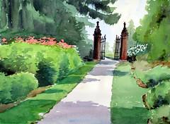 Guild Park, 2019-08-12 (light and shadow by pen) Tags: watercolor landscape guildpark art toronto