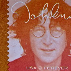 "Lennon Forever - Macro Monday - ""Printed Word"" (not beck) Tags: macromonday macro monday printedword stamp postagestamp letter usmail orange johnlennon beatles autograph"
