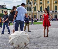 Vienna Wien - red dress (Oliver Kuehne) Tags: vienna wien austria sonyrx100m2 april 2019 street schlossschönbrunn reddress