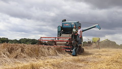 Staying ahead of the rain (Duck 1966) Tags: ransomes claas combineharvester straw wheat harvest clouds farming farmworker littleellinghamworkingweekend