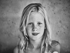 Meike's summer (PascallacsaP) Tags: blackandwhite monochrome portrait contrast xf35mmf14 freckles freckled frontal staring bw vignetting serene fujifilmxpro2 summer naturallight ambientlight availablelight ilfordhp5plus filmsimulation portraiture posed natural 1styles 1stylespro