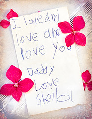 Daddy's Note in full (docoverachiever) Tags: note printing child flowers print old daddy memory home ink paper macro