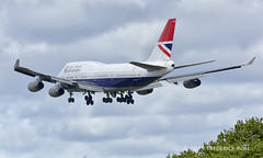 British Airways B747 ~ G-CIVB (© Freddie) Tags: heathrow londonheathrow cranford hounslow ba britishairways retro negus boeing b747 b744 gcivb lhr egll arrival27r 27r fjroll ©freddie baw ba100