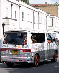326 of Year 5 - Hippee Friendee van (I'm Tim Large) Tags: mazdafriendee van camper campervan old hippy wheels pop art popular 365 326 fuji fujifilm xe1 55200mm orange stickers
