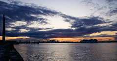 Sailing into the Sunset (sineid2009) Tags: sunset dublinport ships poolbeg clouds ireland