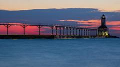 Michigan City (scott5024) Tags: michigan city lighthouse beach lake water sunset dusk landscape waves