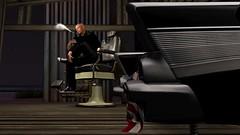 Road Trip: Hot Rod Barber Shop (Tevor Z) Tags: secondlife barbershop abandoned hotrod smoking smoker barberchair