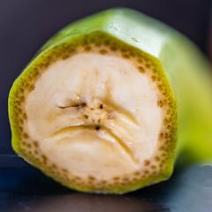 Unhappy Banana (risaclics) Tags: crazy tuesdays banana fruit pareidolia 60mmmacro august2019 closeup nikond610d faces tropical yellow crazytuesdays