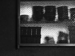 Shelves (Nick Condon) Tags: abstract blackandwhite bowl japan light night olympus45mm olympusem10 shelf tokyo wall window