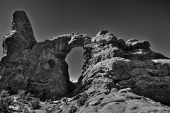 In a Castle Dark or a Fortress Strong (Black & White, Arches National Park) (thor_mark ) Tags: archesnationalpark azimuth245 blackwhite blueskies canyonlands capturenx2edited castlelikerockformation centralcanyonlands colorefexpro coloradoplateau day6 desert desertlandscape desertmountainlandscape desertplantlife highdesert intermountainwest landscape largebushes layersofrock lookingsw naturalarch naturalarches nature nikond800e outside portfolio project365 rockformations sandstonespire silverefexpro2 sunny thewindowstrail trees turretarch utahhighdesert utahnationalparks2017 windowssection ut unitedstates
