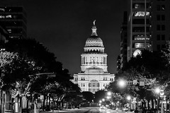 B&W Texas State Capitol at Night (joncutrer) Tags: jcutrer texas austin austintexas texasstatecapitol capitol texascapitol atx travel tourism government building night street architecture politics