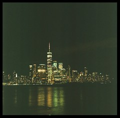 City Skyline with a Rolleicord IV and Porta 800 (johnnydutcher) Tags: skyscrapers buildings nighttime manhattan analogue vintage metropolis film rolleicordiv rolleicord porta800 nyc city skyline color tlr mediumformat 120mm