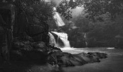 From a distance .. (tchakladerphotography) Tags: water waterfall lodh atmosphere atmospheric rocks river travel trees forest misty blackwhite bw landscape light nature naturallight nikon rain