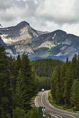 Road Tripping (Valley Imagery) Tags: banff road rv mountain trees overcast tourist sony a99ii 70400gii caravan canada