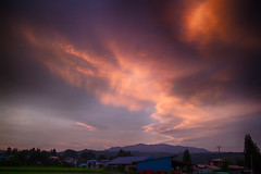 Sky Drama (jasohill) Tags: instability heaven asia sunsets nature city iwate red ominous summer rice paddies hachimantai dark photography life color warm clouds 2019 japan god