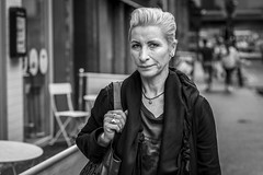 Silver (Leanne Boulton) Tags: candid streetphotography woman portrait people urban street candidstreetphotography portraiture candidportrait streetportrait eyecontact candideyecontact streetlife female lady face eyes expression emotion mood feeling style stylish hairstyle fashion chic confidence tone texture detail depthoffield bokeh naturallight outdoor light shade city scene human life living humanity society culture lifestyle canon canon5dmkiii 70mm ef2470mmf28liiusm black white blackwhite bw mono blackandwhite monochrome glasgow scotland uk