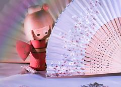 Shy (Elisafox22) Tags: elisafox22 sony ilca77m2 100mmf28 macro macrolens telemacro lens texturaltuesday htt fans japanesefan kokeshi kokeshidoll shy wood bamboo paper red pink kanji table reflections textures indoors outdoors elisaliddell©2019