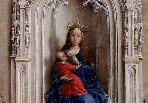 IMG_3141F Rogier van der Weyden 1399-1464 Bruxelles La Vierge et l'Enfant en Majesté The Virgin and Child enthroned  1433 Madrid Thyssen-Bornemisza.