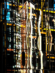 Buildings Reflecting Buildings (Steve Taylor (Photography)) Tags: uk gb greatbritain unitedkingdom london lines england contrast white yellow blue black building architecture office brown orange glass reflection