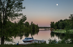 Calm waters (Rainfire Photography) Tags: lake scene landscape ontario canada nikon d850 moon sunset