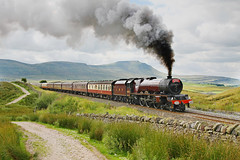 The Princess At Blea Moor. (Neil Harvey 156) Tags: steam steamloco steamengine mainlinesteam railway 6201 princesselizabeth bleamoor settletocarlislerailway thecumbrianmountainexpress pacificloco stanierpacific princessclassloco pacific lms lmsred