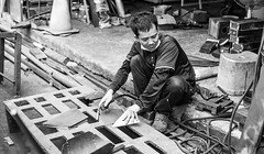 a pause before welding (steve: they can't all be zingers!!! (primus)) Tags: carlzeissplanart50mmf14 primelens prime primecarlzeiss sonya7rii monochrome bw blackwhite taiwan taichungtaiwan taichung