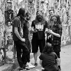IMG_1160686 (Kathi Huidobro) Tags: reportage groupshot graffiti streetart bricklane londonstreets eastlondon candid london blackwhite bw streetphotography streetportrait monochrome musicians rockband