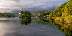 Lateral Glade (http://www.richardfoxphotography.com) Tags: sunset lochkatrine water lake scotland scottishhighlands panorama stormclouds