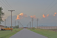 Closing out a Monday (JYB, that's me) Tags: street countyline powerlines clouds sky outdoors summer summerevening town rural ruralcommunity train railroad road sunset dusk