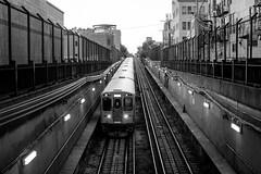 You Got Light in Your Eyes (Thomas Hawk) Tags: america chicago cookcounty illinois usa unitedstates unitedstatesofamerica wickerpark bw subway traintracks fav10 fav25 fav50 fav100