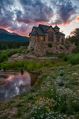 Sunset on the Rocks (RkyMtnGrl) Tags: landscape nature scenery vista summer wildflowers church chapel mountains pond clouds evening sunset stcatherineofsiennachapel chapelontherock stmalo allenspark colorado 2019