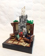 The ring is given to Frodo (LLeGo Pig) Tags: lotr frodo gandalf hobbit lego chimney ring