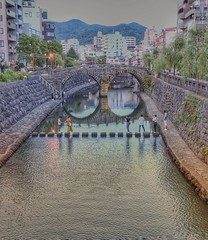 A spectacle (Gunn Shots (On and off these days)) Tags: meganebashi nakashimariver spectaclesbridge nagasaki stonebridge