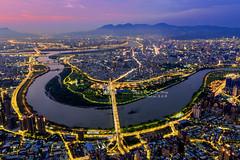 Aerial view of  Xindianxi, New Taipei City, Taiwan   新店溪 (Jennifer 真泥佛 * Taiwan) Tags: 新店溪 dji 新北市 空拍 大疆 小樹家 marvic2pro sunset 日落 中和 taiwan 觀音山 drone aerialview 500m